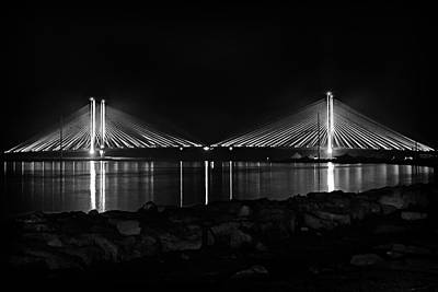 Photograph - Indian River Bridge After Dark In Black And White by Bill Swartwout Fine Art Photography