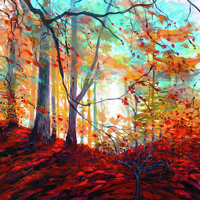 Wall Art - Painting - Indian Summer In The Forest Primeval by Charles Wallis