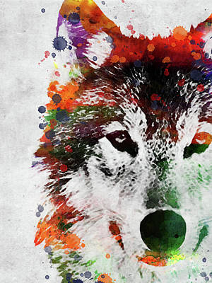 Animals Digital Art - Indian wolf watercolor by Mihaela Pater