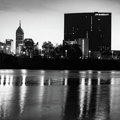 Photograph - Indianapolis Bw Skyline And White River Reflection by Gregory Ballos