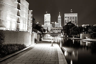 Photograph - Indianapolis Skyline Along The Canal Walk - Sepia Edition by Gregory Ballos
