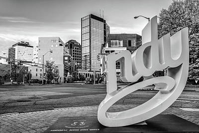 Photograph - Indianapolis Skyline Cityscape - Monochrome Edition by Gregory Ballos