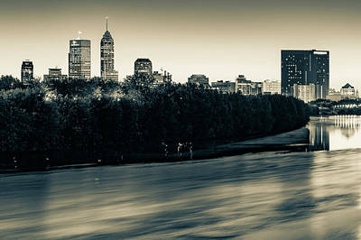 Photograph - Indianapolis Skyline On The White River - Sepia by Gregory Ballos