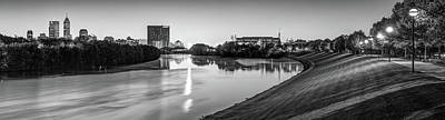 Photograph - Indianapolis Skyline Panorama Over The White River - Black And White by Gregory Ballos
