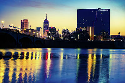 Photograph - Indianapolis White River Skyline At Sunrise by Gregory Ballos