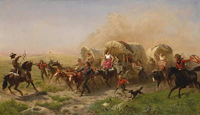 Painting - Indians Attacking A Wagon Train by Emanuel Gottlieb Leutze