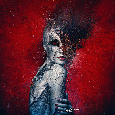 Red Wall Art - Digital Art - Indifference by Mario Sanchez Nevado