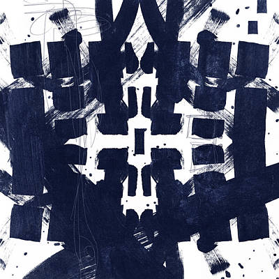 Mixed Media - Indigo Abstract 2- Art By Linda Woods by Linda Woods