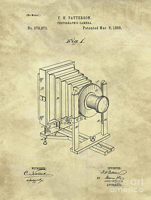 Vintage Camera Drawing - Industrial Farmhouse Camera Blueprint 1888 by Tina Lavoie