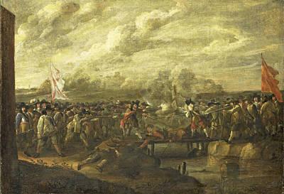 Painting - Infantry Battle At A Bridge by Nicolaas van Eyck