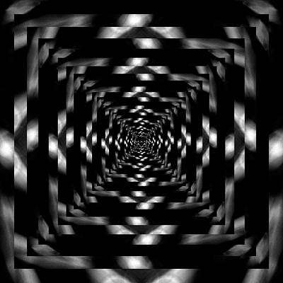 Recently Sold - Surrealism Digital Art Rights Managed Images - Infinity Tunnel Raindrop Black and White Reflection Royalty-Free Image by Pelo Blanco Photo