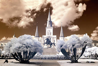 Photograph - Infrared Sleeping In Jackson Square New Orleans by John Rizzuto