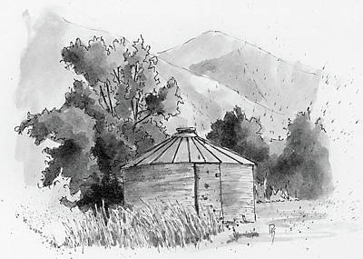 Drawing - Inktober 2018 No 3 Granary by David King