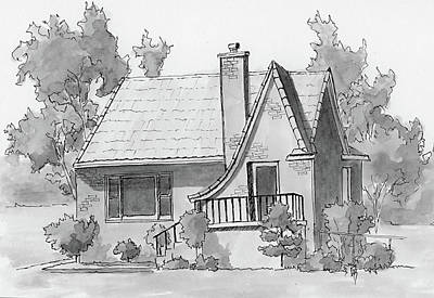 Drawing - Inktober 2018 No 4 Vintage House by David King