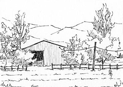 Drawing - Inktober 2018 No 5 Rural Landscape by David King