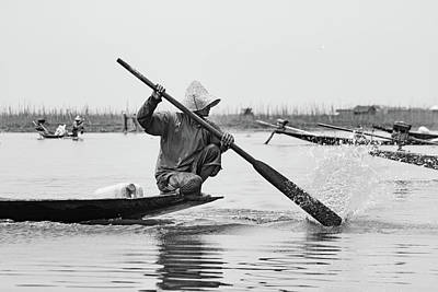 Photograph - Inle Lake Fisherman Bw2 by Mache Del Campo