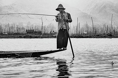 Photograph - Inle Lake Fisherman Bw3 by Mache Del Campo