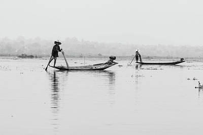 Photograph - Inle Lake Fisherman Bw4 by Mache Del Campo