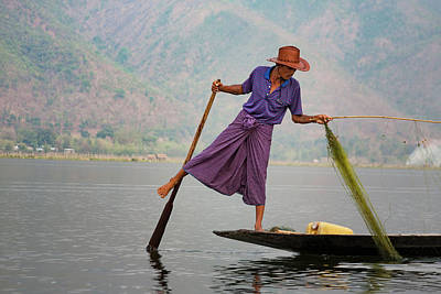 Photograph - Inle Lake's Fisherman 4 by Mache Del Campo