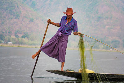 Photograph - Inle Lake's Fishermen 1 by Mache Del Campo