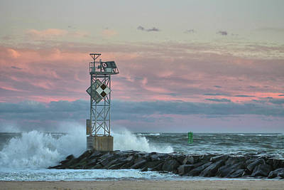 Art History Meets Fashion Rights Managed Images - Inlet Jetty Waves At Sunset Royalty-Free Image by Robert Banach