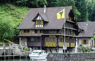 Inn On Lake Lucerne Art Print
