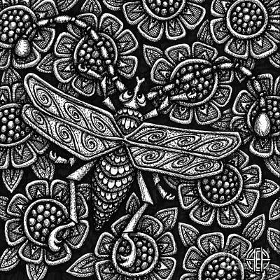 Drawing - Insect Botanical Ink 1 by Amy E Fraser