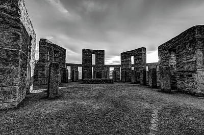 Photograph - Inside Maryhill Stonehenge Black And White by Mark Kiver