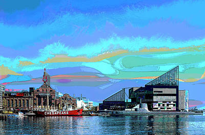 City Sunset Mixed Media - Inter Harbor Baltimore by Charles Shoup