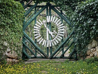 Thomas Kinkade - Interesting wooden green white garden gate in Croatia by Stefan Rotter