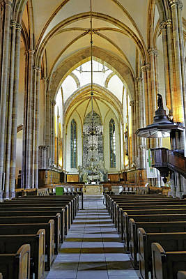 Celebrity Watercolors - Interior Architectural View Of St. Thomas Church in Strasbourg France by Rick Rosenshein