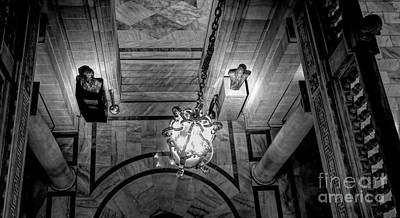 Photograph - Interior Balcony View City Hall Sf Bw by Chuck Kuhn