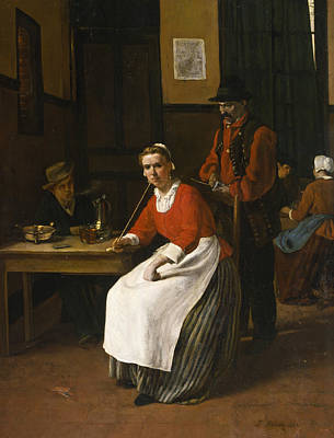 Painting - Interior Of A Tavern by Francois Bonvin