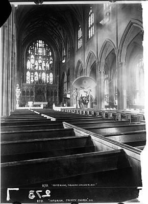 Photograph - Interior Of Trinity Church by The New York Historical Society
