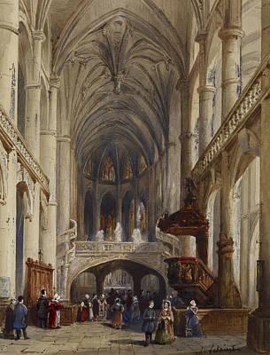 Drawing - Interior, St Etienne Du Mont, Paris by Charles Louis Lesaint