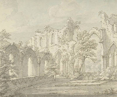 Drawing - Interior View Of Fountains Abbey, Yorkshire by Thomas Sunderland
