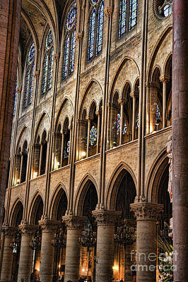 Photograph - Interior Wall Pillars Notre Dame  by Chuck Kuhn
