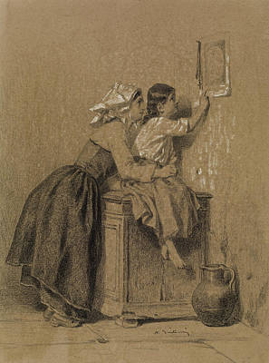 Drawing - Interior, Woman And Child by Alexandre-Marie Guillemin