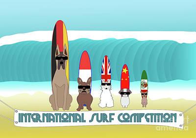 Digital Art - International Surf Competition by Barefoot Bodeez Art