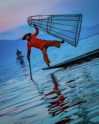 Photograph - Intha Fisherman On Inle Lake by Chris Lord