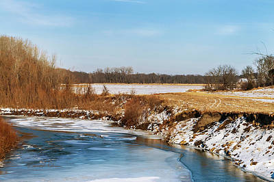 Photograph - Iowa Farmland And River by Edward Peterson