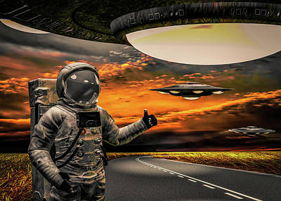 Science Fiction Royalty-Free and Rights-Managed Images - Ironic Number Four - Hitchhiker by Bob Orsillo