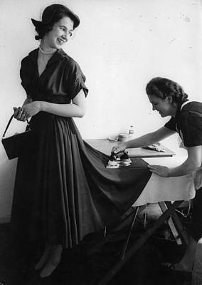 Photograph - Ironing A Debs Dress by Erich Auerbach