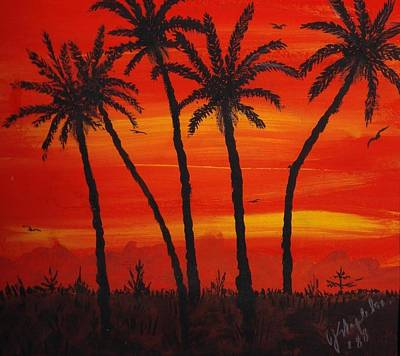 Girl Wall Art - Painting - Island Sunset by Joan Stratton