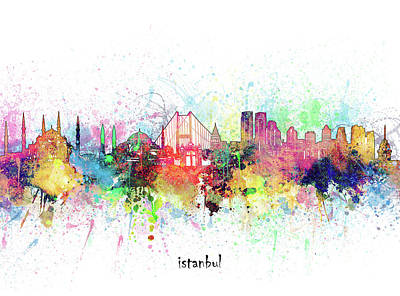 Abstract Skyline Royalty-Free and Rights-Managed Images - Istanbul Skyline Artistic by Bekim M