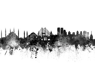 Abstract Skyline Royalty-Free and Rights-Managed Images - Istanbul Skyline Bw by Bekim M