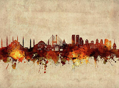 Abstract Skyline Royalty-Free and Rights-Managed Images - Istanbul Skyline Sepia by Bekim M