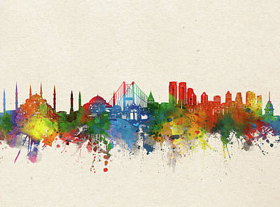 Abstract Skyline Royalty-Free and Rights-Managed Images - Istanbul Skyline Watercolor by Bekim M