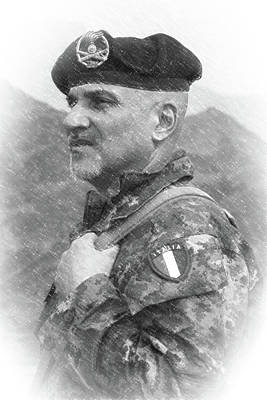 Photograph - Italian Officer In Beret Afghanistan by SR Green