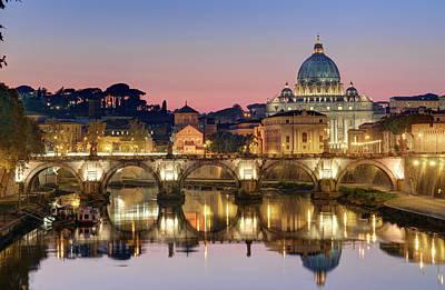 Photograph - Italy, Lazio, Rome, Saint Angel Bridge by Chicurel Arnaud / Hemis.fr